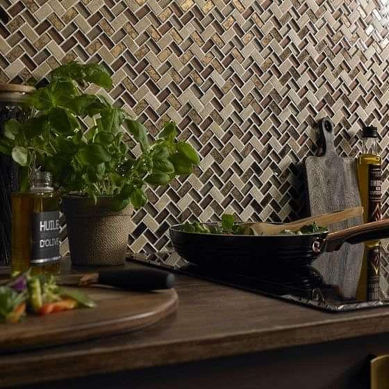 Pence Copper Herringbone Glass Mosaic