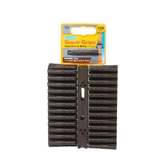 Plasplugs SuperGrip Brown Fixing Clips (Pack of 100)