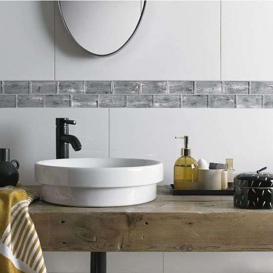 Horizon Silver Wood Effect Mosaic