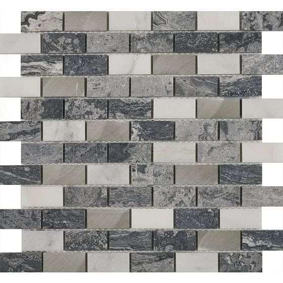 Castell Grey Stone & Metal Mix Brick Mosaic