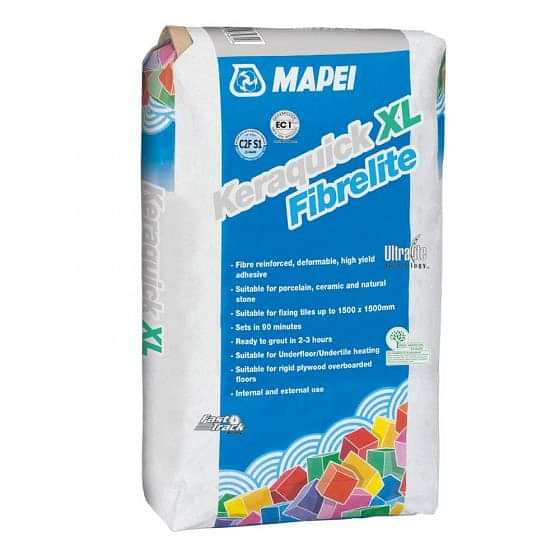 Mapei Keraquick XL Fibrelite White Wall/Floor Tile Adhesive 15kg