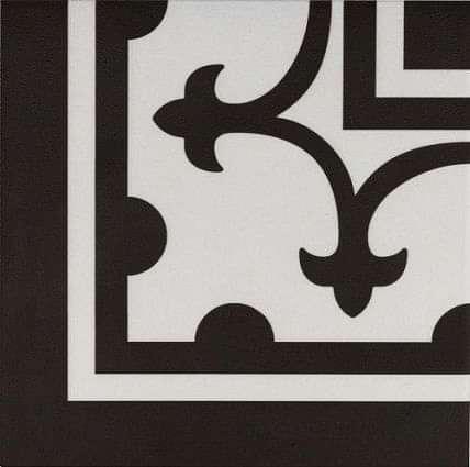 Pamplona Corner Black on White 200x200