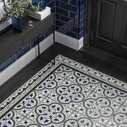 Pamplona Black, White & Blue Pattern 200x200