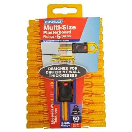 Plasplugs Multi-size Plasterboard Fixings (Pack of 50)