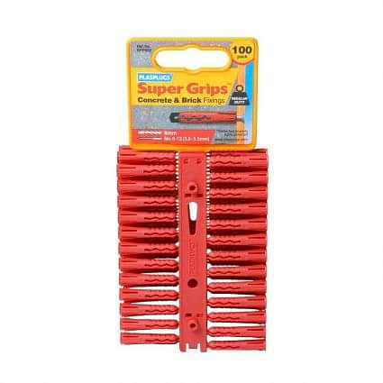 Plasplugs SuperGrip Red Fixing Clips (Pack of 100)