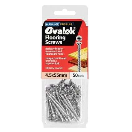 Plasplugs Ovalok Flooring Screws 4.5x55mm (50 Pack)
