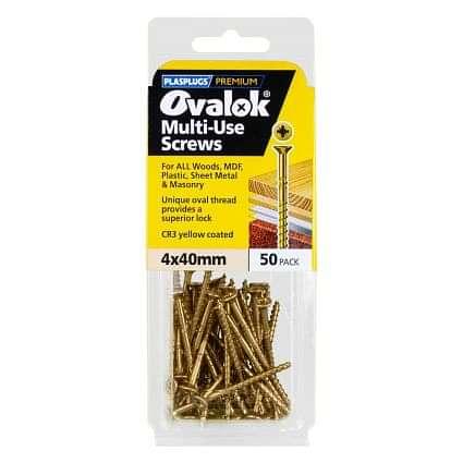 Plasplugs Ovalok Multi-use Countersunk Screws 4x40mm (50 Pack)