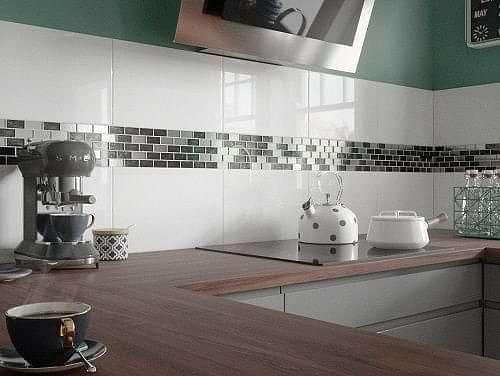 Trade Gloss Flat White Wall Tile 25x40cm
