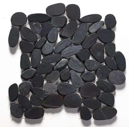 Riverstone Black Flat Cut Pebble Mosaic