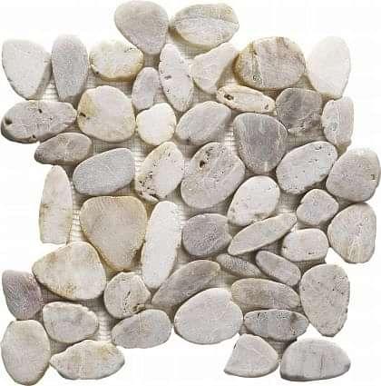 Riverstone White Flat Cut Pebble Mosaic