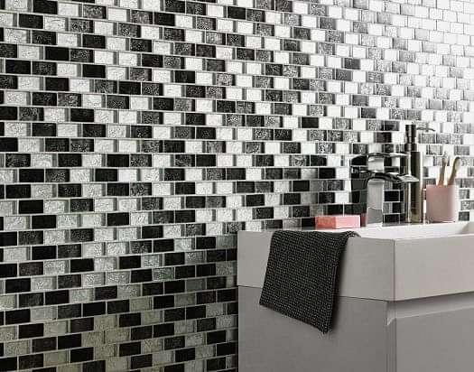 Silver Black Leaf Glass Brick Mosaic