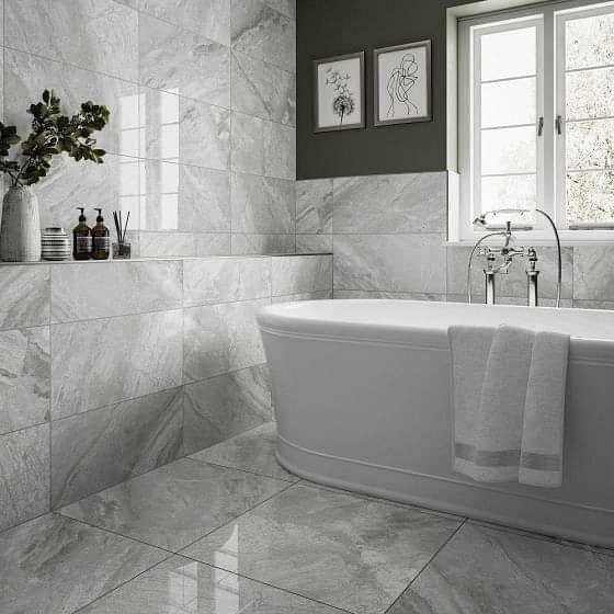 Supreme Silver Polished Marble Tile