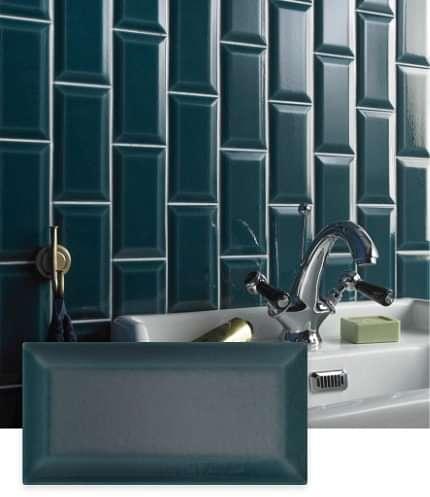 Bevel Teal Victoria Baths Tile | Tilegiant.co.uk