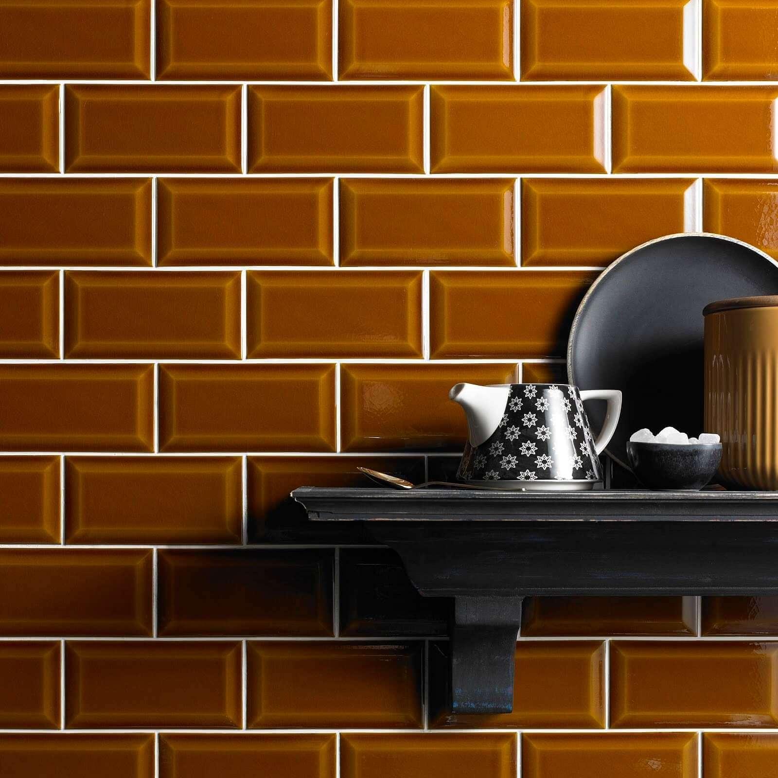 Bevel Mustard Victoria Baths range from Tile Giant